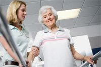 Elderly woman in physiotherapy